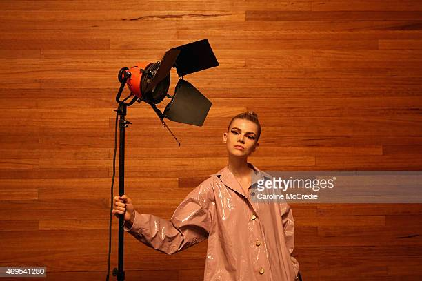 A model poses backstage ahead of the By Johnny show at MercedesBenz Fashion Week Australia 2015 at Carriageworks on April 13 2015 in Sydney Australia