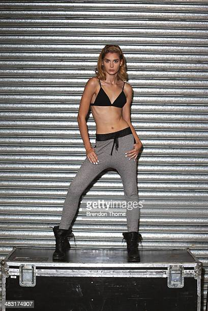 A model poses backstage ahead of the By Johnny show at MercedesBenz Fashion Week Australia 2014 at Carriageworks on April 7 2014 in Sydney Australia