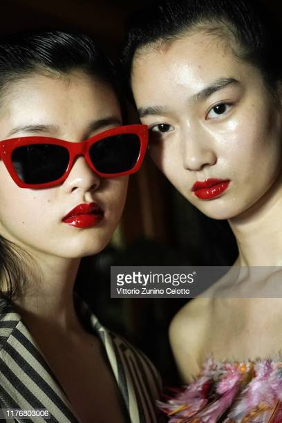 Model poses backstage ahead of the Calvin Luo Womenswear Spring/Summer 2020 show as part of Paris Fashion Week on September 24, 2019 in Paris, France.