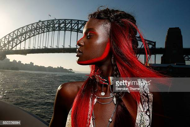 A model poses backstage ahead of the Camilla show at MercedesBenz Fashion Week Resort 17 Collections at The Seadeck on May 19 2016 in Sydney Australia