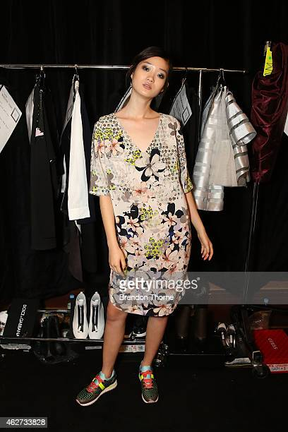 A model poses backstage ahead of the David Jones Autumn/Winter 2015 Collection Launch at David Jones Elizabeth Street Store on February 4 2015 in...