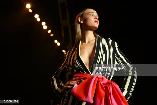 A model poses backstage ahead of the David Jones Spring Summer 18 Collections Launch at Fox Studios on August 8 2018 in Sydney Australia