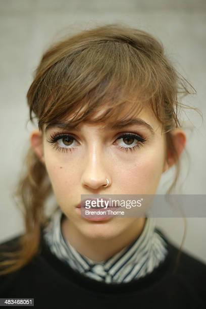 A model poses backstage ahead of the Duvenage show at MercedesBenz Fashion Week Australia 2014 at Carriageworks on April 9 2014 in Sydney Australia