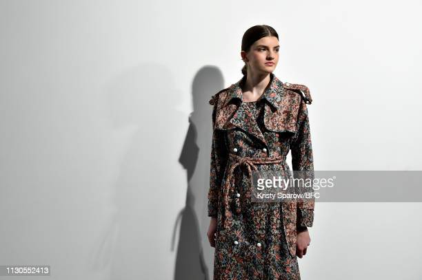 Model poses backstage ahead of the Edeline presentation during London Fashion Week February 2019 at the BFC Show Space on February 18, 2019 in...