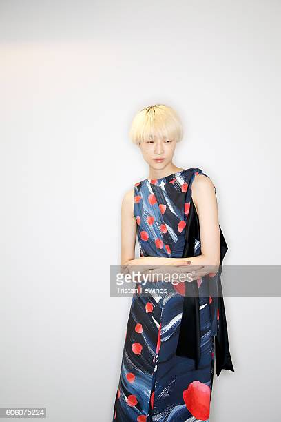 A model poses backstage ahead of the Eudon Choi runway show during London Fashion Week Spring/Summer collections 2017 on September 16 2016 in London...