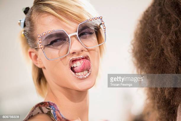 A model poses backstage ahead of the Fendi show during Milan Fashion Week Spring/Summer 2017 on September 22 2016 in Milan Italy