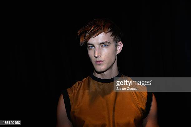 A model poses backstage ahead of the From Britten show during MercedesBenz Fashion Week Australia Spring/Summer 2013/14 at Carriageworks on April 9...