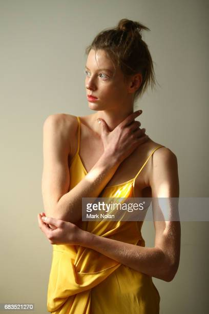 A model poses backstage ahead of the Gary Bigen show at MercedesBenz Fashion Week Resort 18 Collections at Elston Room on May 16 2017 in Sydney...
