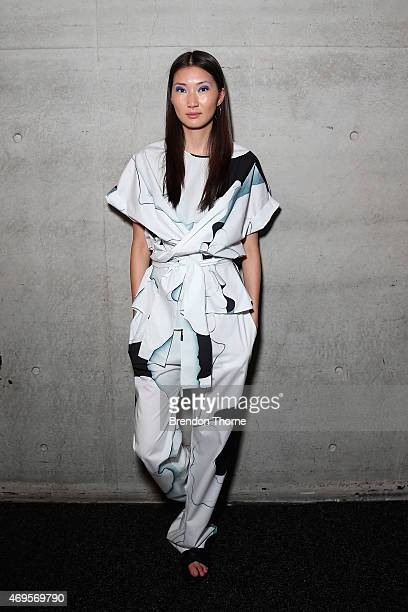 A model poses backstage ahead of the Gary Bigeni show at MercedesBenz Fashion Week Australia 2015 at Carriageworks on April 13 2015 in Sydney...