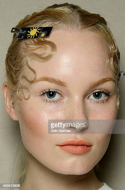 A model poses backstage ahead of the Grinko show during Milan Fashion Week Womenswear Spring/Summer 2015 on September 22 2014 in Milan Italy