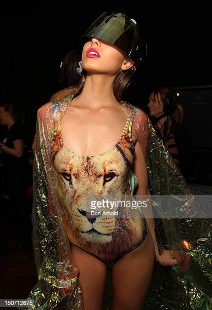 A model poses backstage ahead of the Group Show as part of the MercedesBenz Fashion festival Sydney 2012 at Sydney Town Hall on August 25 2012 in...