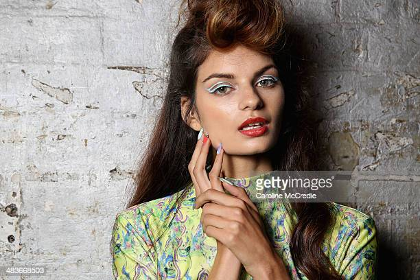 A model poses backstage ahead of the Hayley Elsaesser show at MercedesBenz Fashion Week Australia 2014 at Carriageworks on April 10 2014 in Sydney...