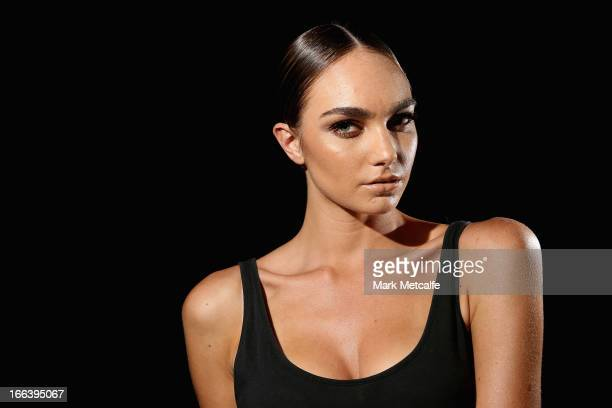 A model poses backstage ahead of the Hello Elle Australia show during MercedesBenz Fashion Week Australia Spring/Summer 2013/14 at Carriageworks on...