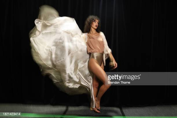 Model poses backstage ahead of the Indigenous Fashion Projects show during Afterpay Australian Fashion Week 2021 Resort '22 Collections at...