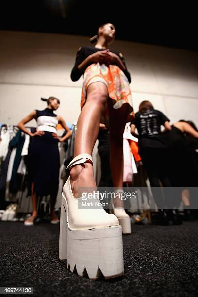 A model poses backstage ahead of The Innovators Fashion Design Studio show at MercedesBenz Fashion Week Australia 2015 at Carriageworks on April 15...