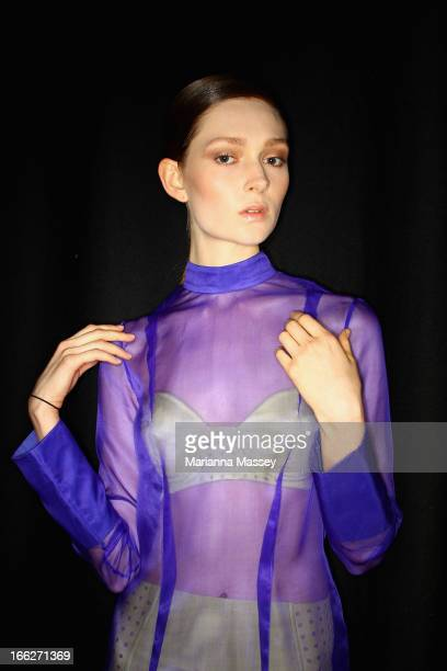 A model poses backstage ahead of the Innovators show during MercedesBenz Fashion Week Australia Spring/Summer 2013/14 at Carriageworks on April 11...