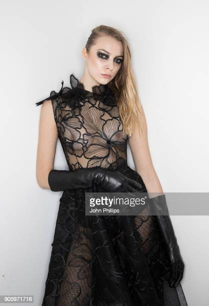 A model poses backstage ahead of the Irene Luft show during the MBFW January 2018 at ewerk on January 17 2018 in Berlin Germany
