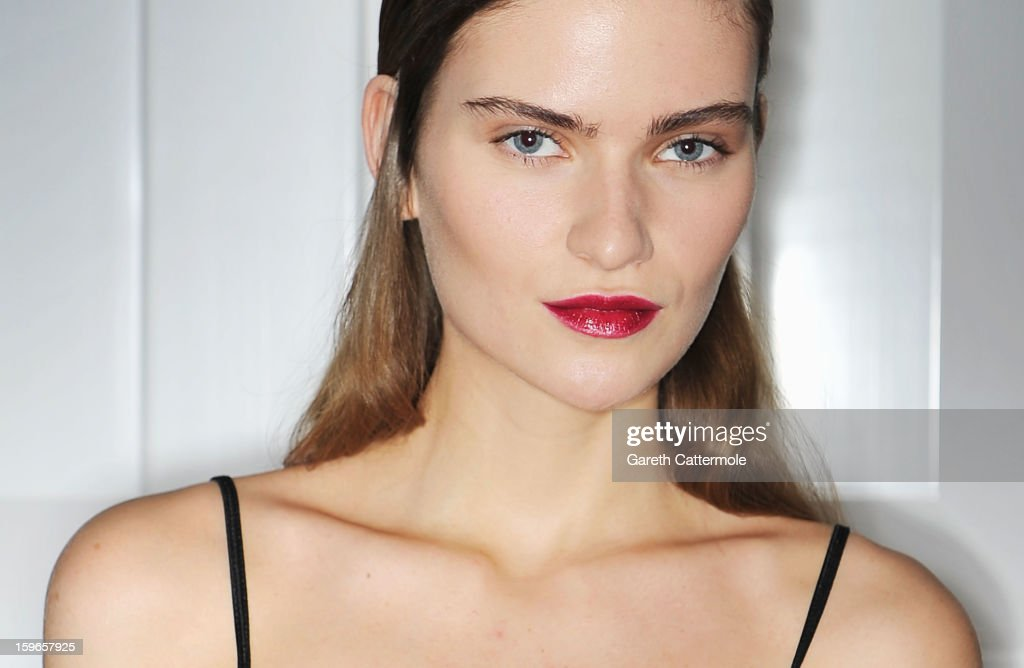 A model poses backstage ahead of the Issever Bahri Autumn/Winter 2013/14 fashion show during Mercedes-Benz Fashion Week Berlin at Brandenburg Gate on January 18, 2013 in Berlin, Germany.