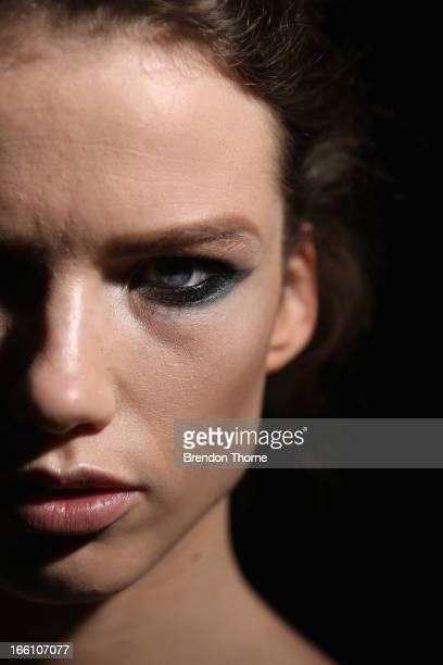 A model poses backstage ahead of the Jayson Brunsdon show during MercedesBenz Fashion Week Australia Spring/Summer 2013/14 at Carriageworks on April...