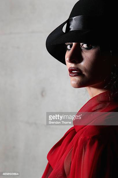 Model poses backstage ahead of the Johanna Johnson Presented By Capitol Grand show at Mercedes-Benz Fashion Week Australia 2015 at Carriageworks on...