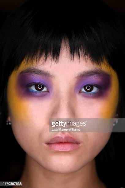 A model poses backstage ahead of the Jojo Ross show during New Zealand Fashion Week 2019 at Auckland Town Hall on August 27 2019 in Auckland New...