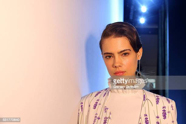 A model poses backstage ahead of the Karla Spetic show at MercedesBenz Fashion Week Resort 17 Collections at Carriageworks on May 17 2016 in Sydney...