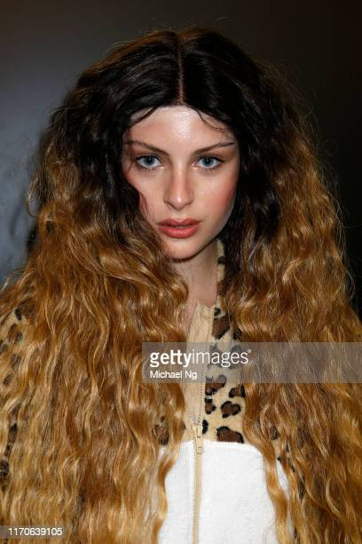 A model poses backstage ahead of the Kathryn Wilson show during New Zealand Fashion Week 2019 at Auckland Town Hall on August 28 2019 in Auckland New...