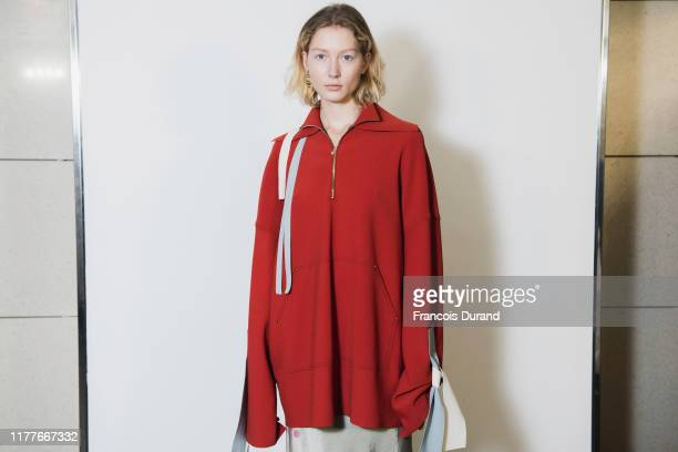 Model poses backstage ahead of the K-Collection Womenswear Spring/Summer 2020 show as part of Paris Fashion Week on September 28, 2019 in Paris,...