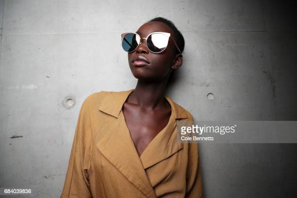 A model poses backstage ahead of the KITX show at MercedesBenz Fashion Week Resort 18 Collections at Bay 25 Carriageworks on May 17 2017 in Sydney...