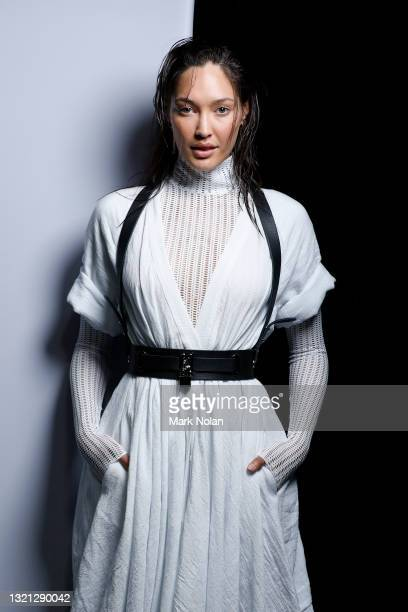 Model poses backstage ahead of the KITX show during Afterpay Australian Fashion Week 2021 Resort '22 Collections at Carriageworks on June 02, 2021 in...