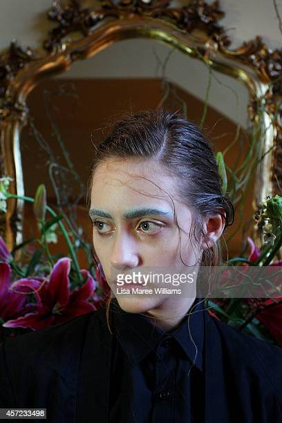 A model poses backstage ahead of the LAMARCK show as part of Mercedes Benz Fashion Week TOKYO 2015 S/S at RISTORANTE ASO on October 15 2014 in Tokyo...