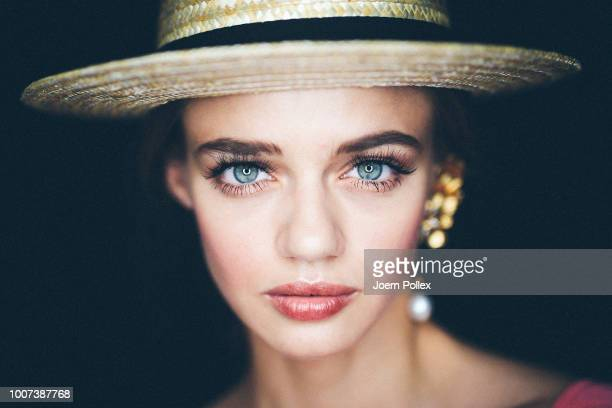 A model poses backstage ahead of the Lana Mueller show during the Berlin Fashion Week Spring/Summer 2019 at ewerk on July 5 2018 in Berlin Germany