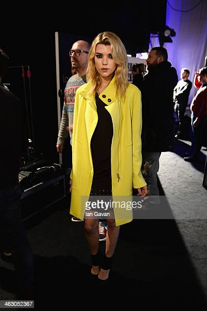 A model poses backstage ahead of the Laurel show during MercedesBenz Fashion Week Autumn/Winter 2014/15 at Brandenburg Gate on January 16 2014 in...
