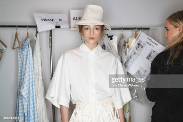 A model poses backstage ahead of the Lee Mathews show at MercedesBenz Fashion Week Resort 19 Collections at Carriageworks on May 14 2018 in Sydney...