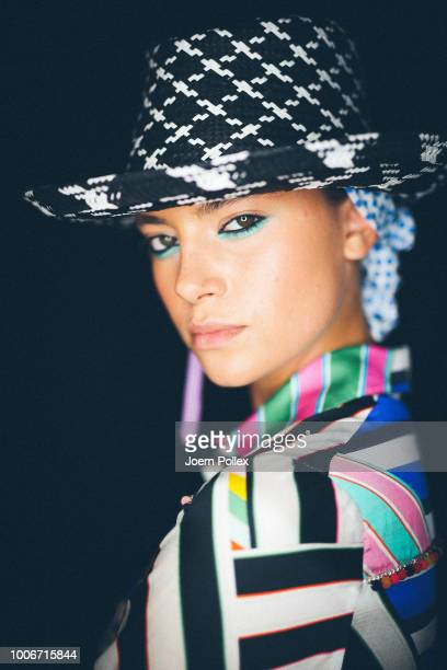 A model poses backstage ahead of the Maison Common show during the Berlin Fashion Week Spring/Summer 2019 at ewerk on July 4 2018 in Berlin Germany