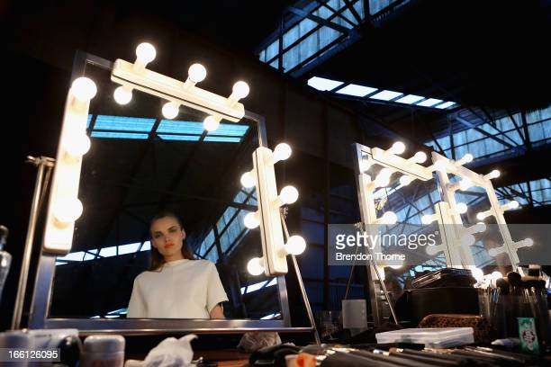 A model poses backstage ahead of the Manning Cartell show during MercedesBenz Fashion Week Australia Spring/Summer 2013/14 at The Shed Carriageworks...