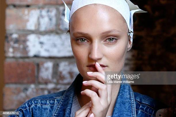 A model poses backstage ahead of the Maticevski show at MercedesBenz Fashion Week Australia 2015 at Bay 25 Carriageworks on April 14 2015 in Sydney...