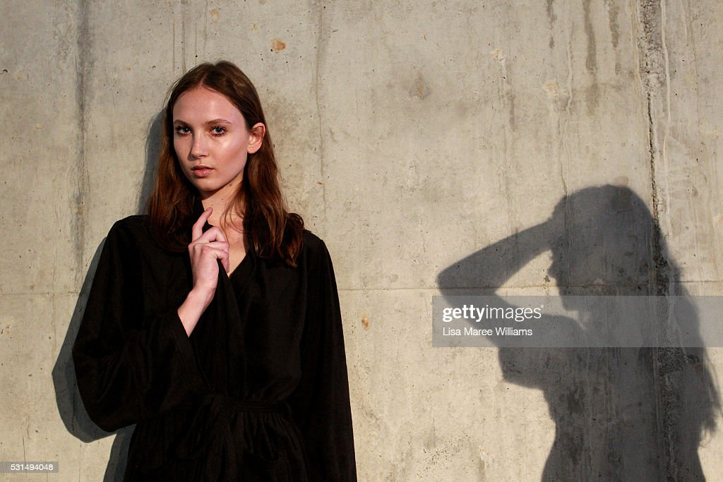 A model poses backstage ahead of the Mercedes-Benz Presents Maticevski show at Mercedes-Benz Fashion Week Resort 17 Collections at The Cutaway, Barangaroo Reserve on May 15, 2016 in Sydney, Australia.