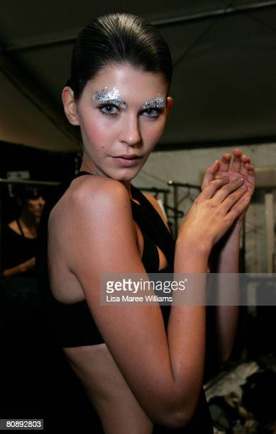 A model poses backstage ahead of the Michelle Jank show on the first day of the Rosemount Australian Fashion Week Spring/Summer 2008/09 Collections...