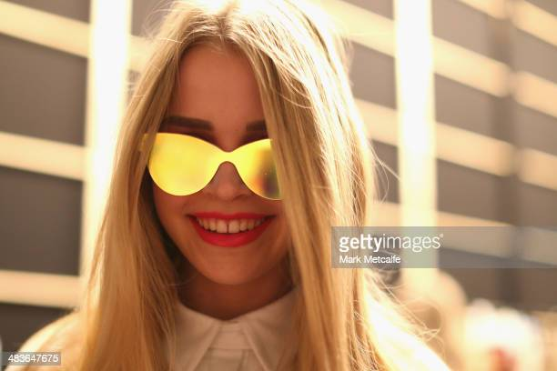 A model poses backstage ahead of the New Generation show at MercedesBenz Fashion Week Australia 2014 at Carriageworks on April 10 2014 in Sydney...