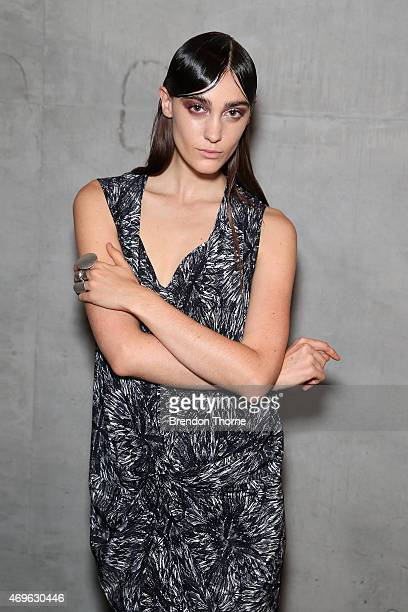 A model poses backstage ahead of the One Fell Swoop show at MercedesBenz Fashion Week Australia 2015 at Carriageworks on April 14 2015 in Sydney...