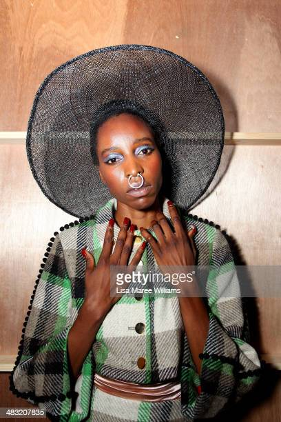 A model poses backstage ahead of the Phoenix Keating show at MercedesBenz Fashion Week Australia 2014 at Carriageworks on April 7 2014 in Sydney...