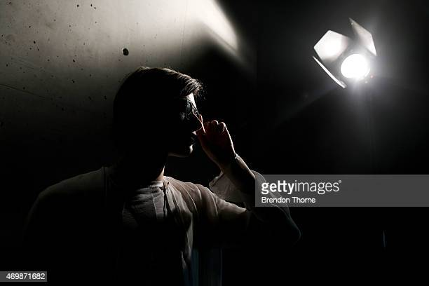 A model poses backstage ahead of the Raffles International Showcase show at MercedesBenz Fashion Week Australia 2015 at Carriageworks on April 16...