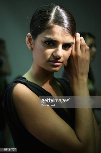 Model poses backstage ahead of the Ready To Wear catwalk show on the third and final day of Rosemount Australian Fashion Week's Transeasonal 2008...