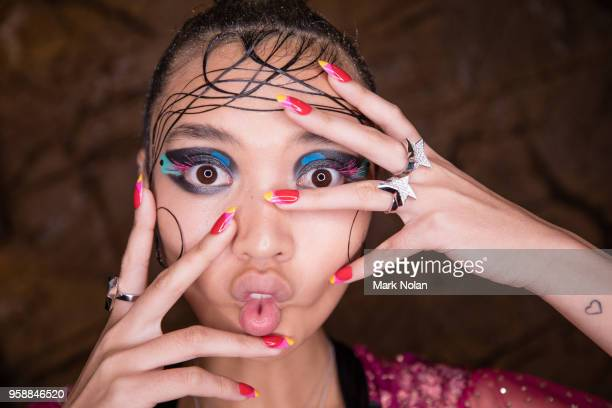A model poses backstage ahead of the Romance Was Born show at MercedesBenz Fashion Week Resort 19 Collections at Restaurant Hubert on May 15 2018 in...