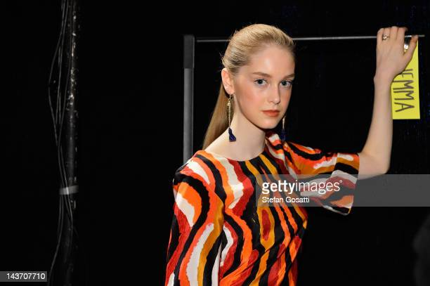 Model poses backstage ahead of the Roopa Pemmaraju show on day four of Mercedes-Benz Fashion Week Australia Spring/Summer 2012/13 at the Overseas...