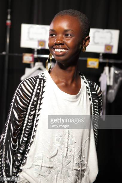 A model poses backstage ahead of the Sass Bide show at MercedesBenz Fashion Week Resort 18 Collections at Bay 2224 Carriageworks on May 15 2017 in...