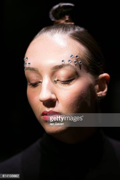 A model poses backstage ahead of the Selma State show during MercedesBenz Fashion Week Istanbul at Zorlu Center on October 12 2016 in Istanbul Turkey