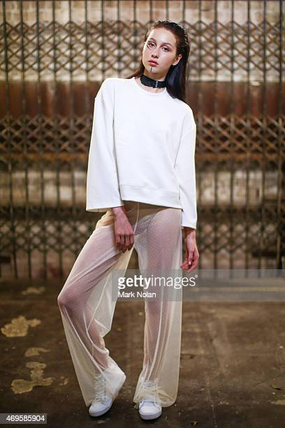 A model poses backstage ahead of the Serpent The Swan show at MercedesBenz Fashion Week Australia 2015 at Carriageworks on April 13 2015 in Sydney...