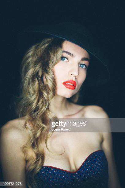 A model poses backstage ahead of the Sportalm Kitzbuehel show during the Berlin Fashion Week Spring/Summer 2019 at ewerk on July 4 2018 in Berlin...